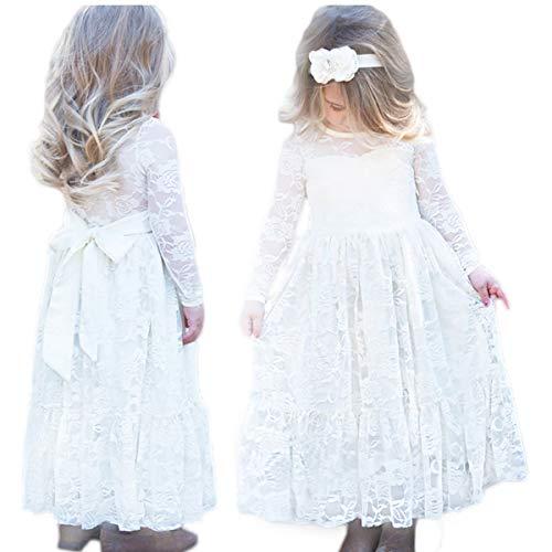 CQDY Prinzessin Spitzenkleid für Mädchen Hochzeit Blumen Kleid Partykleid mit großen Bogen, Elfenbein, 3-4 Jahre