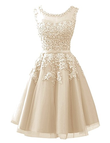 Beyonddress Damen Abendkleider mit Applikationen Elegant Ballkleid Brautjungfernkleider Kurz Partykleid(Champagner,34)