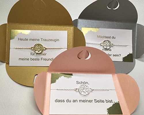 ONDEGO Lebensbaum Trauzeugin Brautjungfer Geschenk fragen Hochzeit Brautschmuck Armband Ondego Gold Silber Rot Mintgrün Blau Rosa