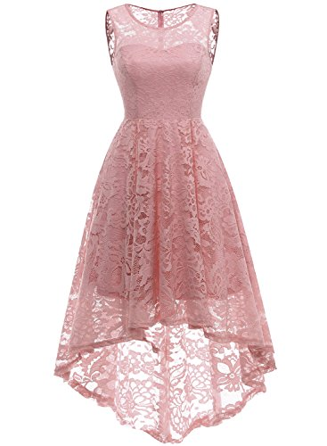 MuaDress 6006 Elegante Abendkleider Cocktailkleider Damenkleider Brautjungfernkleider aus Spitzen Knielange Rockabilly Ballkleid Rund Ausschnitt Blush XL