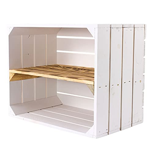 4er Set weiße Holzkiste mit geflammtem Mittelbrett -längst- Neue Obstkiste in weiß/Shabby chic Look mit Regalbrett flambiert - Schuhregal Bücherregal Obstkistenregal Regal Regalkiste 50x40x30 cm