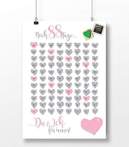 Schönes Countdown Poster zur Hochzeit - Wedding Countdown Kalender mit Stempel - Vorbereitung für das Brautpaar