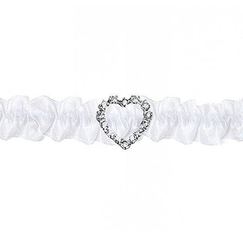PartyDeco Strumpfband Satiniert mit Strass in Herzform, Weiß, Einheitsgröße