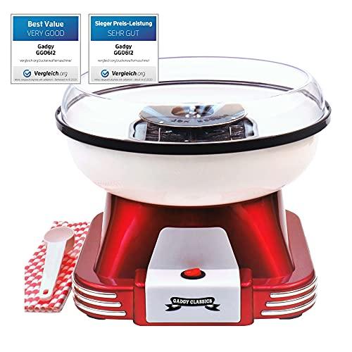 Gadgy ® Zuckerwattemaschine für Zuhause   Retro Cotton Candy Machine   mit Zucker oder Zuckerfreie Harte Süßigkeiten Bonbons zu Benutzen   500W Rot Weiß