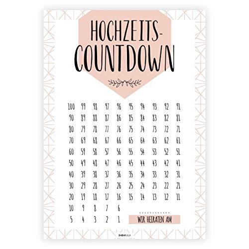 Hochzeitscountdown, Verlobungsgeschenk, Hochzeit Kalender, 100 Tage bis Hochzeit, Geschenk für Brautpaar