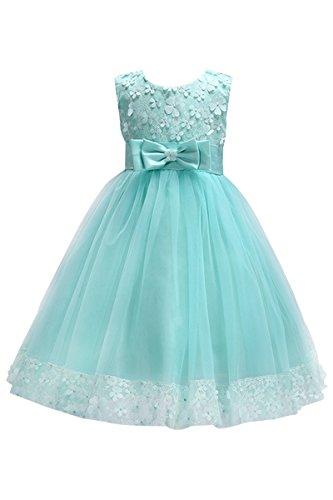 YMING Mädchen Sommer Kleid Festlich Blumen Kleid mit Schleife Festzug Party Kleid,Minze Grün,2-3 Jahre Alt