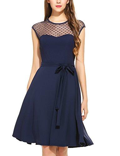 Zeagoo Damen Vintage 50er Jahr Rockabilly Kleid Swing Cocktailkleid Abendkleid Elegantes Kleid, Dunkelblau, Gr.- 40 EU/ Medium