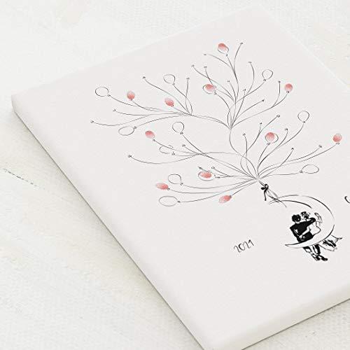 sendmoments Leinwand für Fingerabdrücke, Moon Hochzeit, Hochformat 30x40 cm, personalisiert mit Text, kreative Verewigung der Hochzeitsgäste, originelles Gästebuch, optional mit Stempelkissen