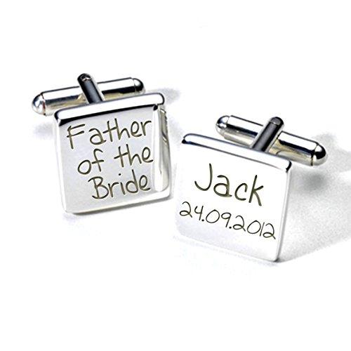 Manschettenknöpfe 'Father Of The Bride' Manschettenknöpfe, personalisiert, Design Code: A2WED009, Silber, quadratisch, Aufschrift 'Thank you' (Englisch), Hochzeit