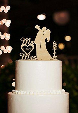 personalisierbar letzten Namen mit Datum Kuchen Topper Kiss Braut und Bräutigam Silhouette Herr und Frau Rustikal Hochzeit Kuchen Topper