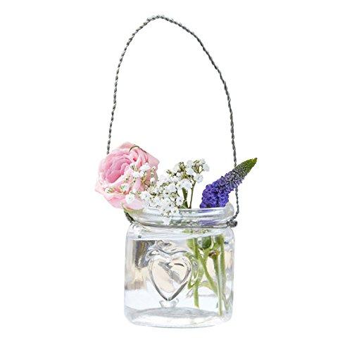 Unbekannt Teelicht-Gläser/Mini Blumen-Vasen aus Glas - inklusive Hängevorrichtung - Hochzeits-Deko/Tisch-Dekoration Vintage Hochzeit Geburtstag Blumen-Vasen/Teelicht-Gläser/Kerzen-Ständer (12 Gläser)
