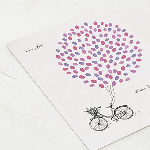 sendmoments Poster für Fingerabdrücke, Fahrrad Vintage Hochzeit, Hochformat 30x40 cm, personalisiert mit Text, kreative Verewigung der Gäste, originelles Gästebuch, optional mit Stempelkissen