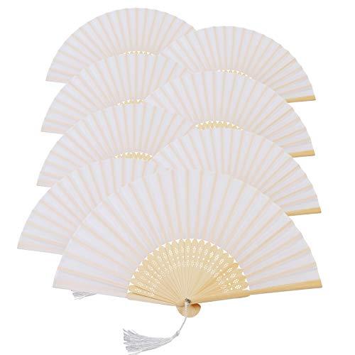 KAKOO 8er Weiß Seiden Fächer Bambus Handfächer Taschenfächer Stofffächer Faltbar Dekofächer mit Box Hochzeit Party Kirche Kinder Gastgeschenk (Weiß Seiden)