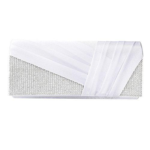 Clasichic Damen Frauen Hochzeit Clutch Elegant Abendtasche Handtasche (Weiß)