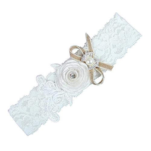 Charm4you Elegantes Strumpfband für die Braut,Braut Hochzeit Zubehör Stretch Spitze Bein Schlaufe Strumpfband Gürtel-Weiß 10pcs_XXL,Garter Strumpfband Hochzeitsstrumpfband
