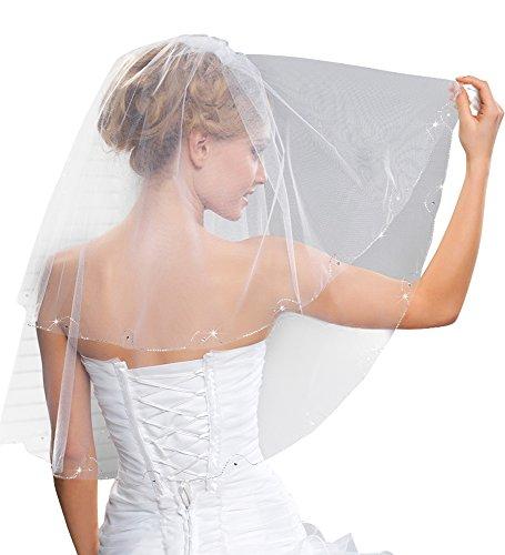 Nina Brautmoden Tüll Schleier 2-stufig mit Glasperlen und Strass - 75 cm Länge - WA84 (weiß)