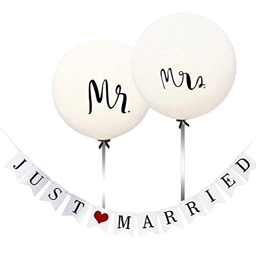 HEZIJIA 36'' Mr Mrs Luftballons Hochzeit XXL Balloons Weiß Mr&Mrs Deko Girlande Dekoration Hochzeit Set