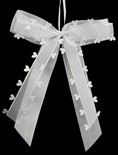 Praknu 25 Antennenschleifen Autoschleifen Weiß mit Herzen N26 I Handgemacht I Satinband I Autoschmuck Hochzeit Schleifen Star-LINE