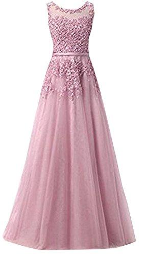 Ever Love A-Linie Lang Spitze T¨¹ll R¨¹ckenfrei Abendkleid Ballkleid Hochzeit Brautjungfernkleid mit Träger-Farbe: Light Purple, Gr. 40