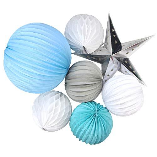 SUNBEAUTY 7er Set Papier Lampions Blau Deko Wabenbälle Weiß Stern Silber Feier Dekoration