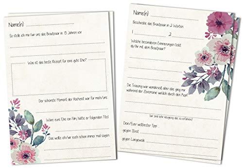 Gästebuchseiten Gästekarten DINA6 - Schöne Fragekarten 2 Motive zum Ausfüllen und Einkleben ins Gästebuch Hochzeit mit Fragen