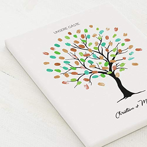 sendmoments Leinwand für Fingerabdrücke, Wedding Tree Holz, Hochformat 30x40 cm, personalisiert mit Text, kreative Verewigung der Hochzeitsgäste, originelles Gästebuch, optional mit Stempelkissen