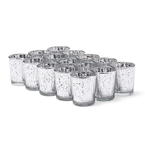 15 Stück Glas Teelichthalter, 6.8cm - Gefleckter Silber Kerzenhalter - Premium Qualität, Stilvoll & Elegant.