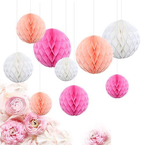 Feelshion 9er Seidenpapier Pompons Wabenbälle Set Lampions für Geburtstag Hochzeit Gartenparty Rosa Pink