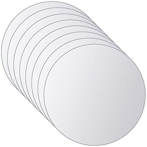 vidaXL Spiegelfliese 8-TLG. Rahmenloses Design Badspiegel Wandspiegel Dekospiegel Spiegelfliesen Fliesenspiegel Klebespiegel Rund Glas