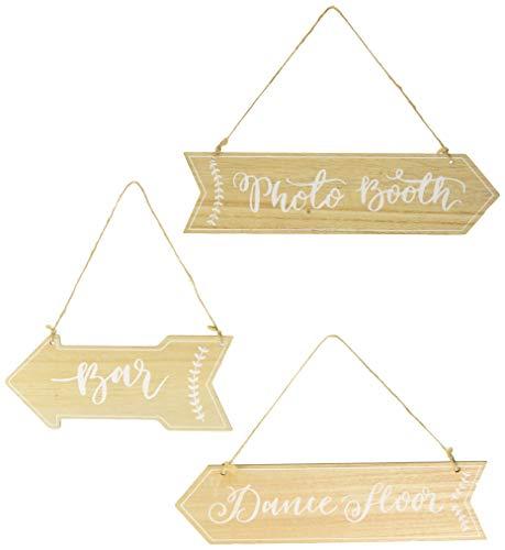 """Ginger Ray Holzschilder für die Hochzeit Bar"""",Photo Booth"""" und """"Dance Floor"""" (englischsprachig)"""