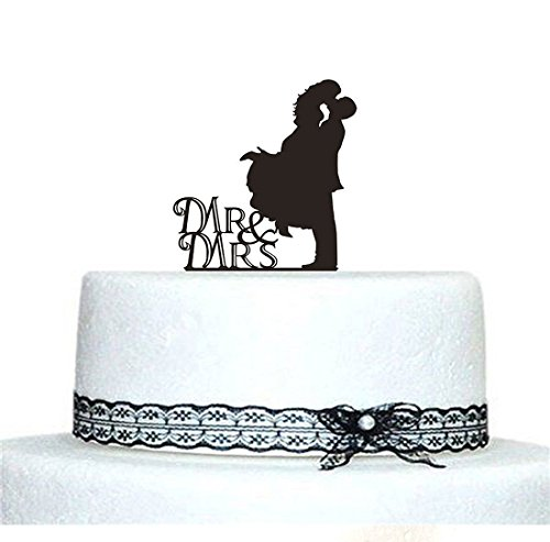 Musuntas Personalized Mr & Mrs Wedding Cake Topper Kuchendeckel, Braut-und Bräutigam-Hochzeits-Silhouette (style 1)