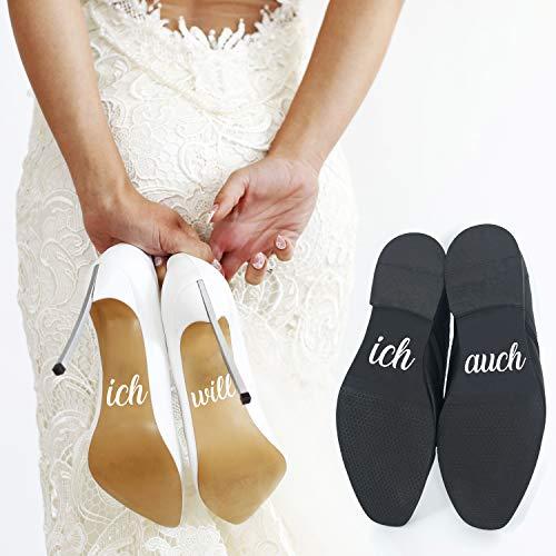 P023 Schuhaufkleber Hochzeit Set Schuhsticker Aufschrift'ich will' und'ich auch' für Braut und Bräutigam, Aufkleber, Schuh Sticker (Weiss)