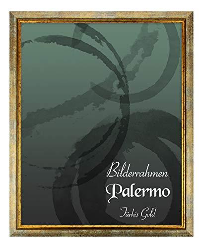 BIRAPA Bilderrahmen Palermo 50x70 cm in Türkis Gold aus Massivholz mit Antireflex-Kunstglas