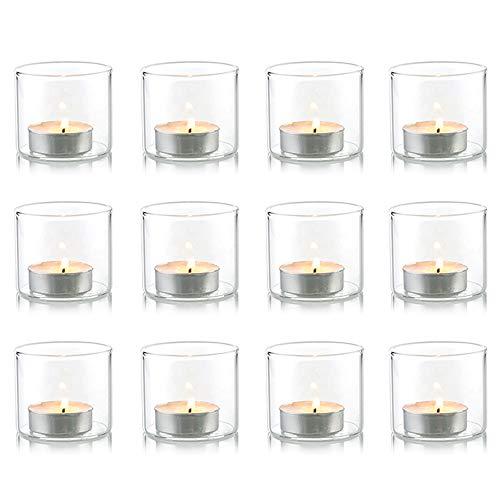 Nuptio Klarer Votiv Teelicht Kerzenhalter aus Glas, Teelichtglas Weihnachten, Dekogläser für Kerzen, Teelichtgläser für Partys Hochzeit Besondere Anlässe Aromatherapie und den Täglichen Gebrauch