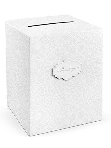 PartyDeco, Schachtel für Geldgeschenk-Umschläge, verziert, weiß, 25 x 25 x 30 cm