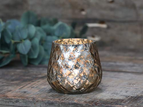 Teelichthalter Windlicht Kerzenglas antik Champagner Deko Landhaus Nostalgie Shabby Vintage French