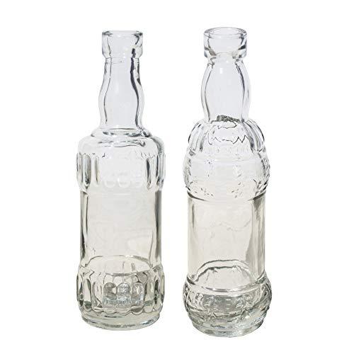12 x kleine Dekoflaschen aus Glas Vintage H 16 cm inklusive 6 Meter Dekoband champagnerfarben - Vase Glas - Blumenvase - Glas Flaschen Vintage - Kleine Deko Vasen