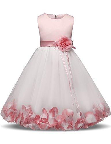 NNJXD Mädchen Tutu Blütenblätter Schleife Brautkleid für Kleinkind Mädchen, Großes Rosa, 5-6 Jahre/ Etikettgröße- 130