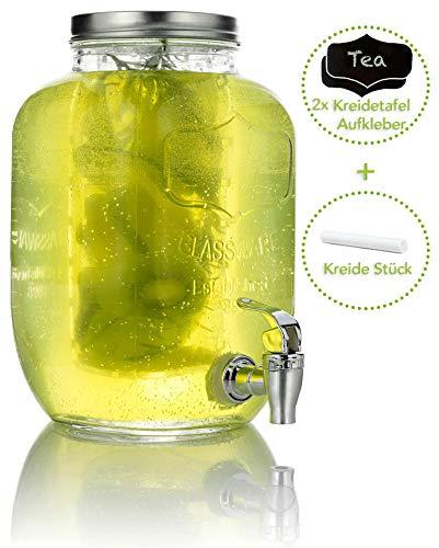 Mary's KITCHEN TOOLS Getränkespender 4 Liter aus Glas mit Fruchteinsatz   mit Zapfhahn   Wasserspender   Limonadenspender   Saftspender   Bowle   Dispenser   Einmachglas-Design (4 Liter)