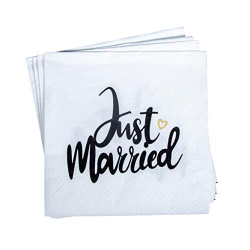Rayher 75441000 Serviette 'Just married', FSC zertifiziert, 33 x 33 cm, 3-lagig, 20 Stück, Tischdeko, Hochzeit, Papierservietten