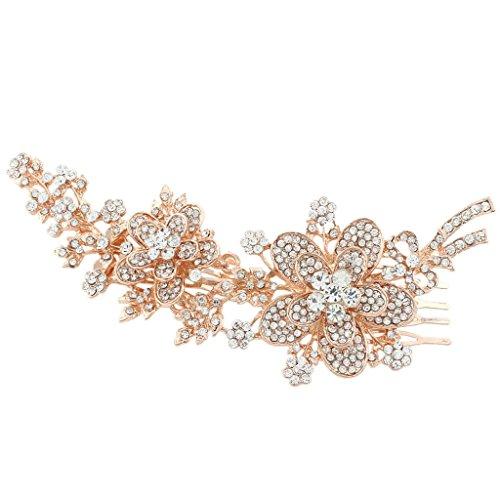 EVER FAITH® österreichischen Kristall elegant Blume Haarkamm Haarschmuck klar Rosagold-Ton K00030-4