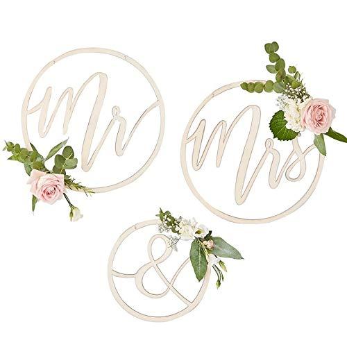 Stuhl-Schild-er/Wand-Schild-er Mr & Mrs aus Holz/Hochzeit-s-Deko-Ration/Schriftzug/Wand-Bild/Stuhl-Dekoration/Hochzeits-Zubehör Braut & Bräutigam