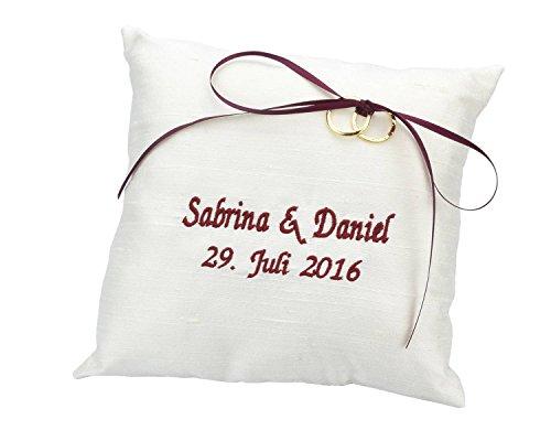 WeddingMania Ringkissen Wildseide – Bestickt mit Namen und Datum - Farbe wählbar