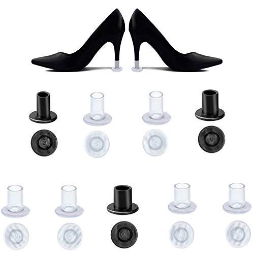 HBselect 9 Paar Absatzschoner Stöckelschuh Absatzschutz High Heel Protectors Stoppers für Rennen, Hochzeiten und andere Formelle Anlässe S/M/L schwarz und klar