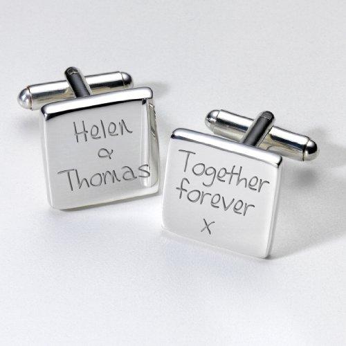 Fotorahmen, personalisiert, versilbert, quadratische Hochzeits-Manschettenknöpfe, tolles Geschenk zum aufbewahren!