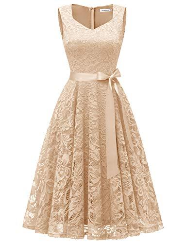Gardenwed Damen Elegant Spitzenkleid Strech Herzform Abendkleid Cocktailkleider Partykleider Champagne XL