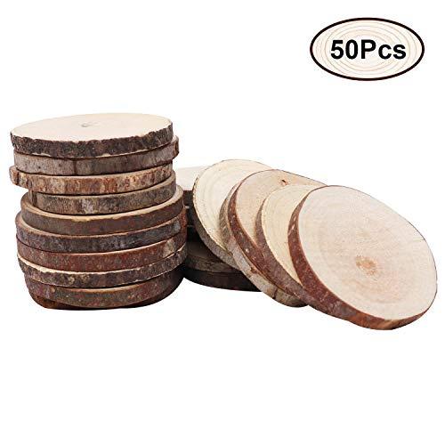 Kurtzy Holzscheiben (50 Stück) - 3-5 cm Durchmesser & 5 mm Dicke Unbehandelte Holzscheiben - Rustikale Holz Log Scheiben - Holzscheiben für Kunsts, Handwerk, Hochzeit Mittelstücke & Dekoration