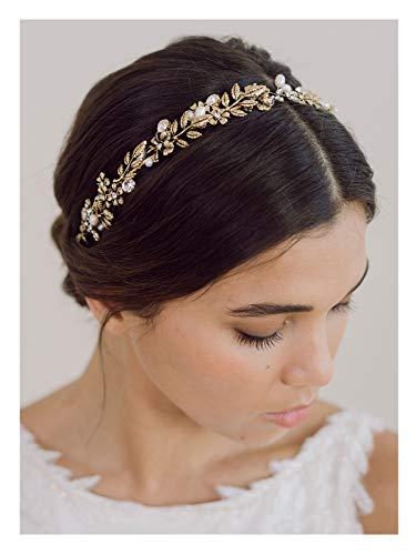 SWEETV Retro Braut Stirnband Haarschmuck Hochzeit Haarband für Damen Kristall Haarreif Hochzeit Diadem