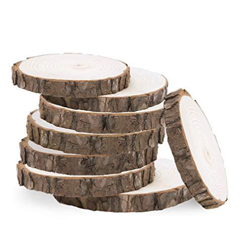 VORCOOL Runde Holzscheiben, Scheiben vom Baumstamm, unbehandeltes Holz, Holzuntersetzer, zur Dekoration oder zum Basteln, 5-6cm, 10Stück