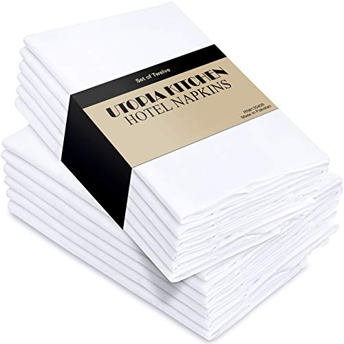 Utopia Kitchen - 12er-Set Stoffservietten, Servietten aus Baumwolle 46 x 46 cm, Weiß